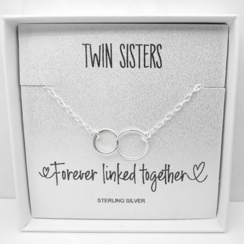 Twin Sister Personalised Sterling Silver Circle Link Bracelet